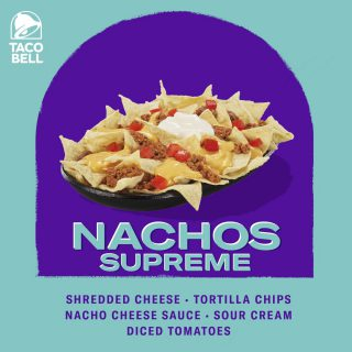 Pretty much anything you and your stomach could desire.Order Taco Bell's Nachos Supreme today and love every bite!