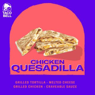 Folded and grilled flat for perfect portable snacking. Indulge with the cheesy goodness of Taco Bell's Chicken Quesadilla today.