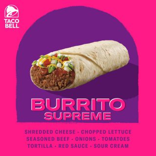 No bite is ever the same. Wrapped up and ready! Order your Taco Bell's Beef Burrito Supreme today.