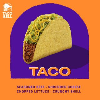 Craveable ingredients come together in Taco Bell's iconic taco. Get your Beef Taco now! Available in crunchy or soft shell!