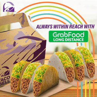 Far from your Taco Bell cravings? No worries 'cause with @grabfoodph Long Distance Delivery, you're always within reach. Grab now!